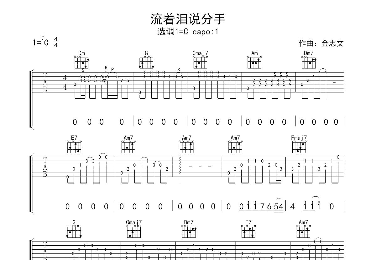 流着泪说分手吉他谱_金志文_C调指弹