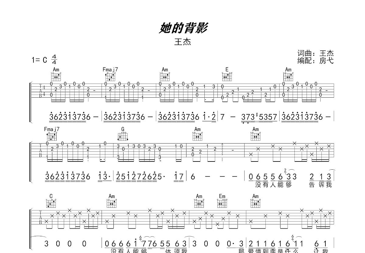 她的背影吉他谱_王杰_C调弹唱