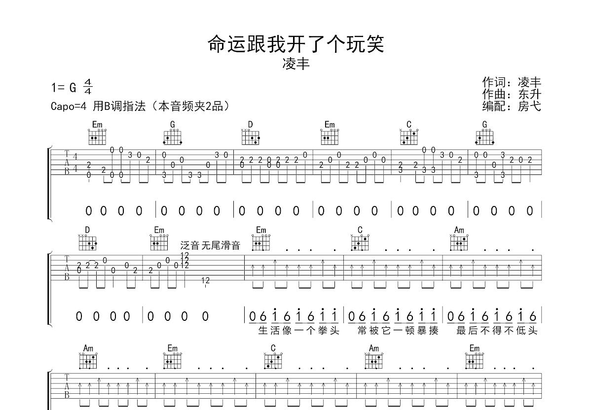 命运跟我开了个玩笑吉他谱_凌丰_G调弹唱