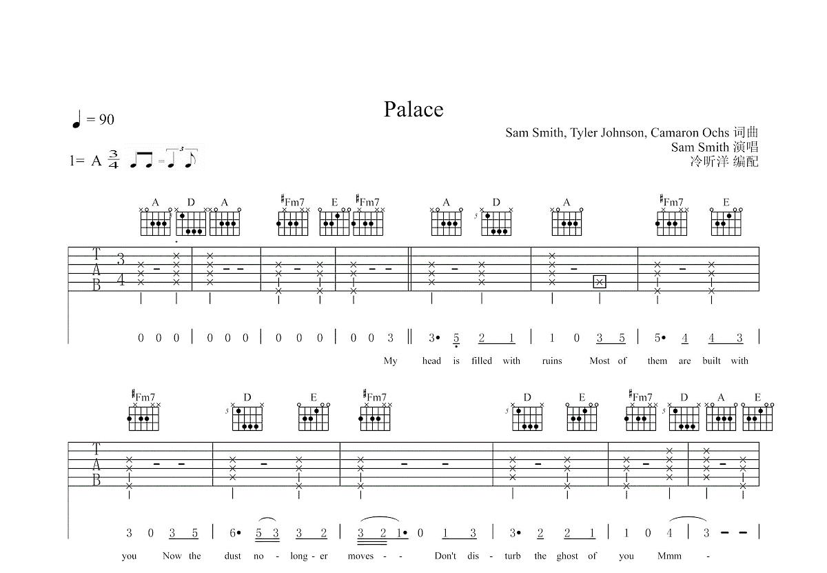 Palace吉他谱_Sam Smith_A调弹唱