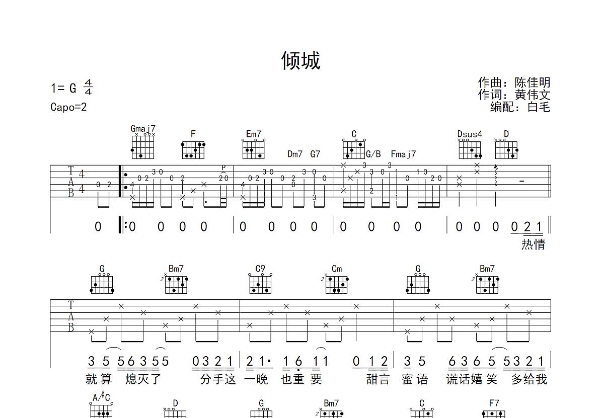 倾城吉他谱_陈奕迅_G调弹唱
