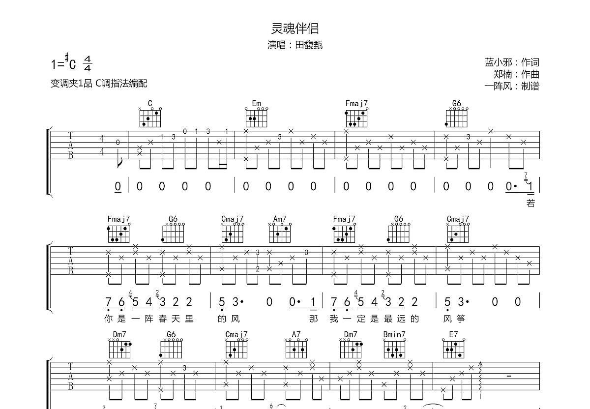 灵魂伴侣吉他谱_田馥甄_C调弹唱