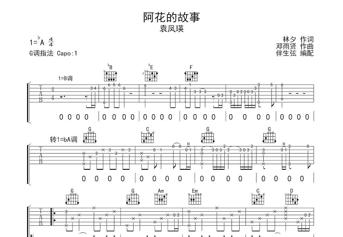阿花的故事吉他谱_袁凤瑛_G调弹唱