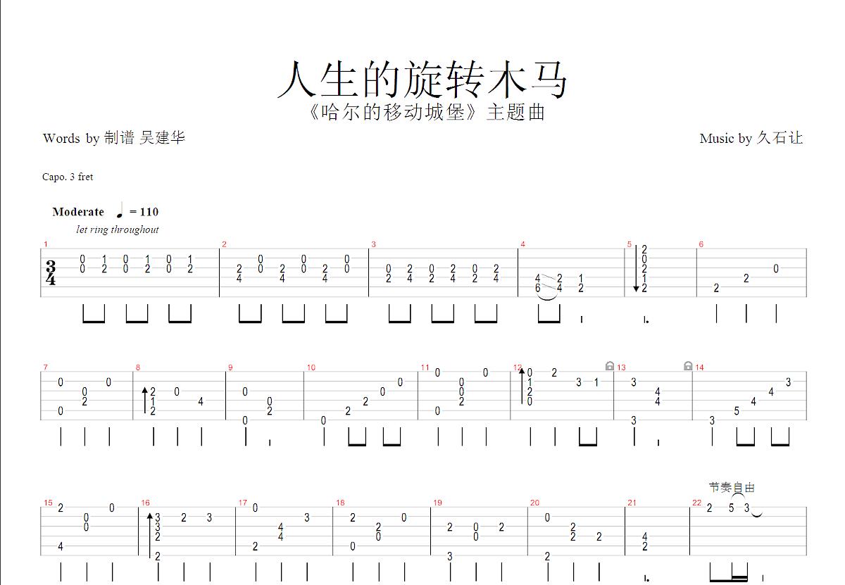 人生的旋转木马吉他谱_郑成河_G调指弹