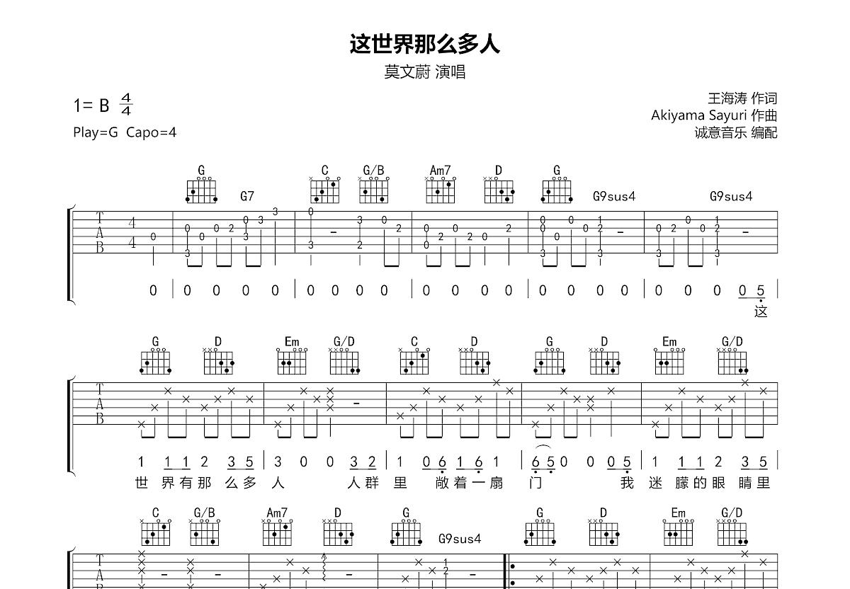这世界那么多人吉他谱_莫文蔚_G调弹唱