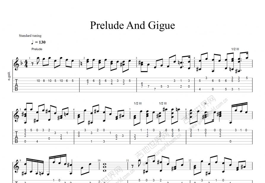 Prelude And Gigu吉他谱_其他_F调古典