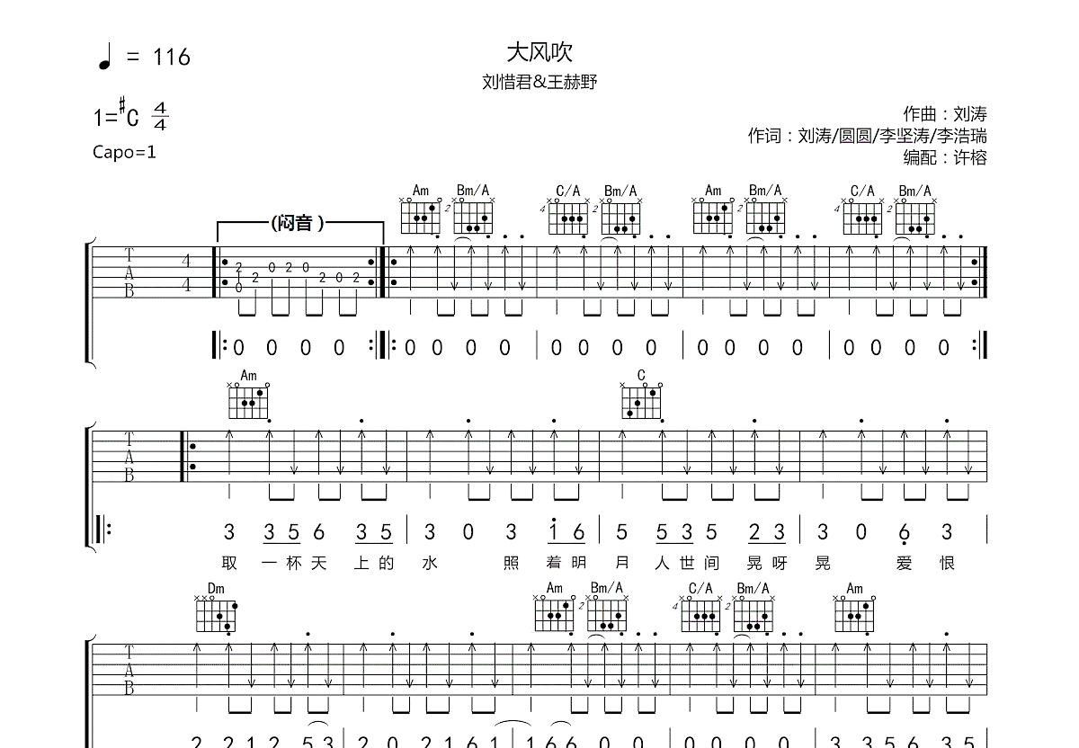 大风吹吉他谱_王赫野,刘惜君_C调弹唱
