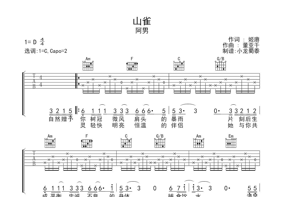山雀吉他谱_阿男_C调弹唱