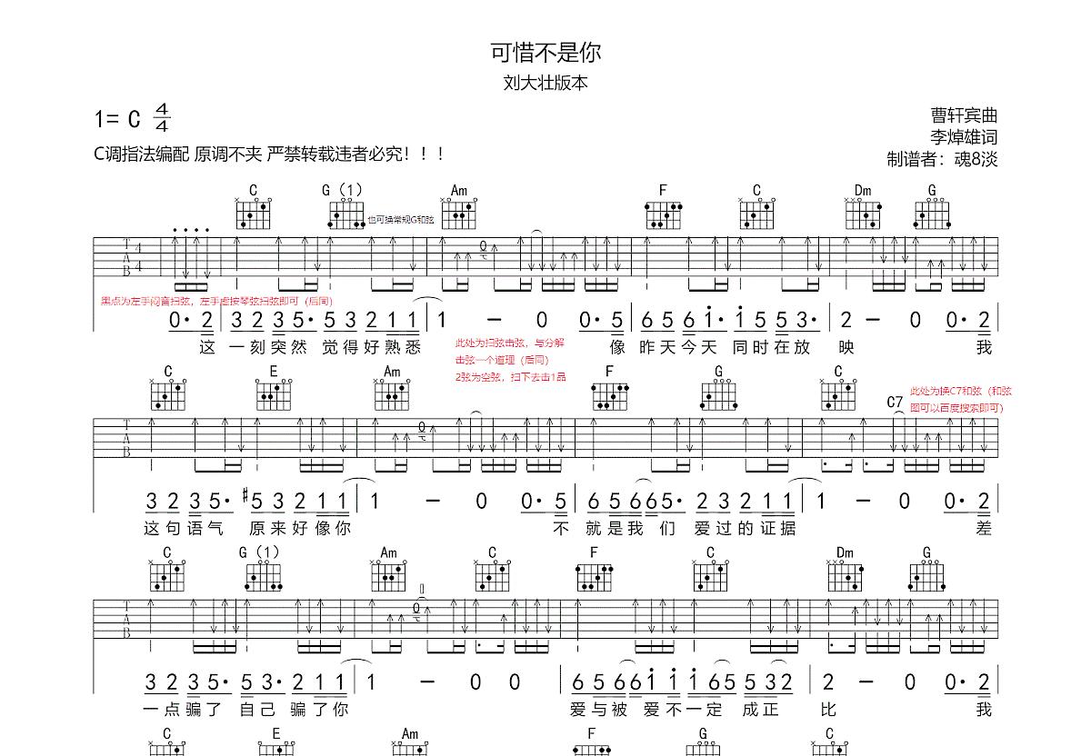 可惜不是你吉他谱_刘大壮_C调弹唱