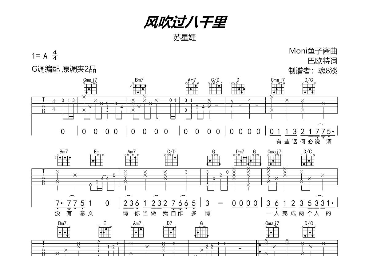 风吹过八千里吉他谱_苏星婕_G调弹唱