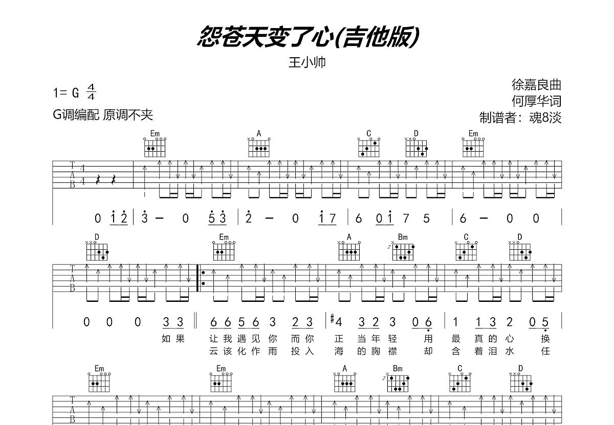 怨苍天变了心吉他谱_王小帅_G调弹唱