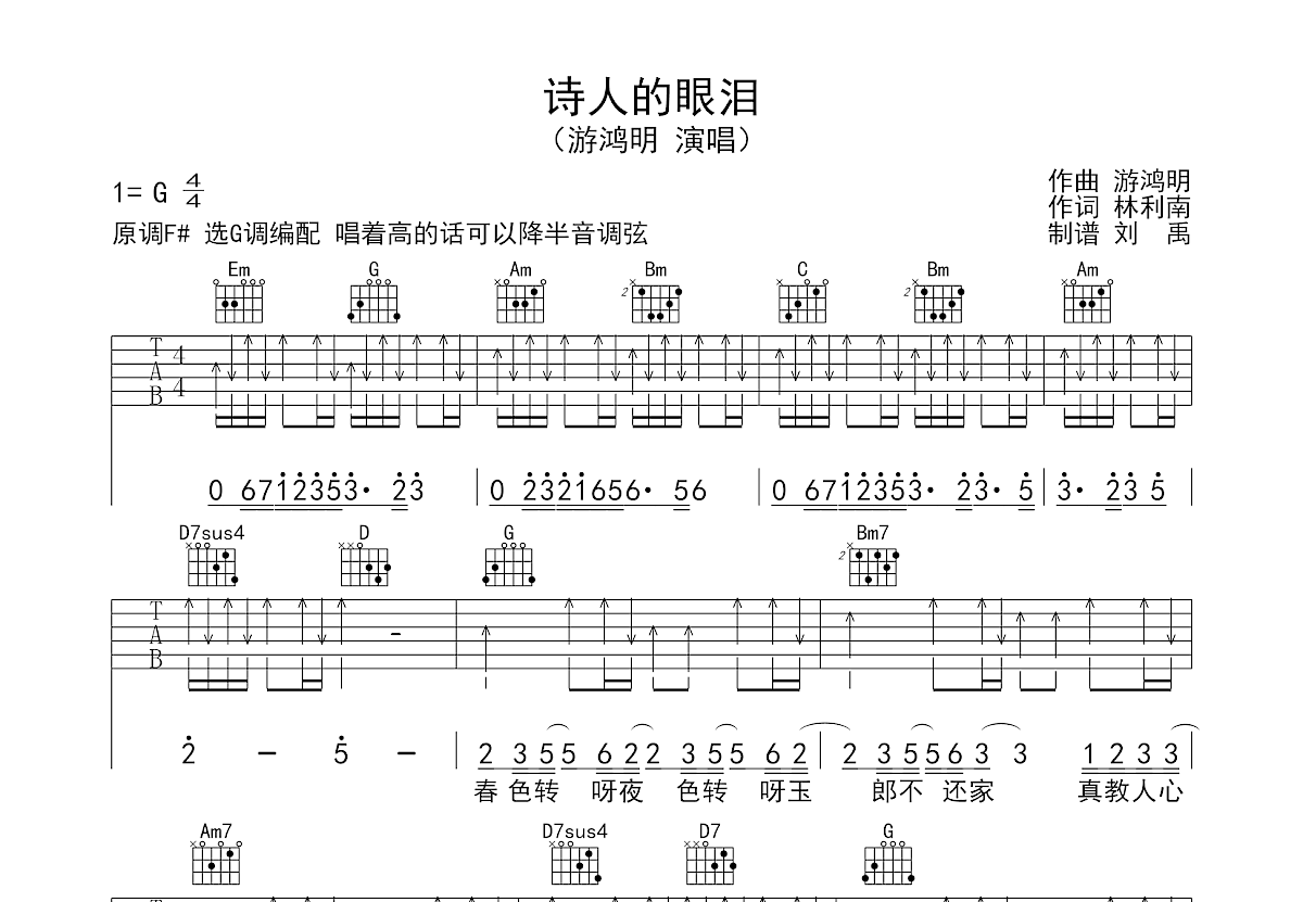 诗人的眼泪吉他谱_游鸿明_G调弹唱