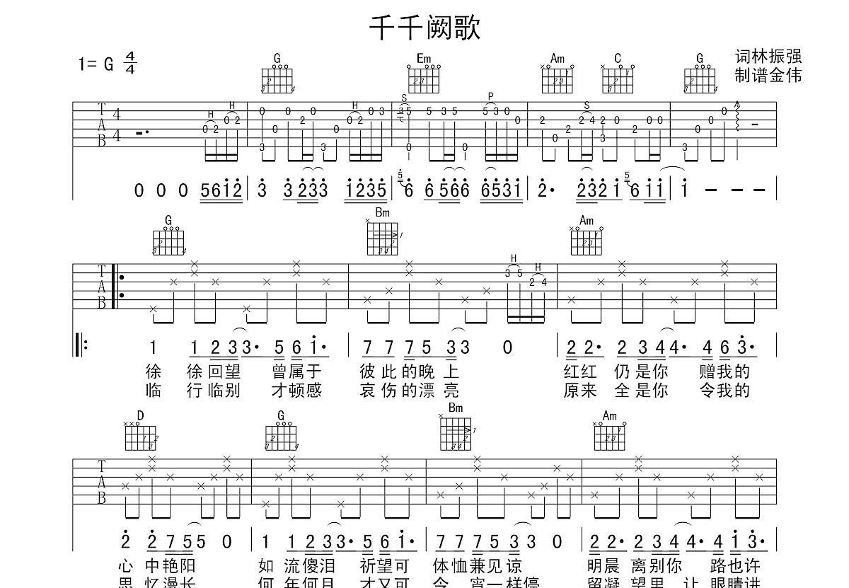 千千阙歌吉他谱_张国荣_G调弹唱