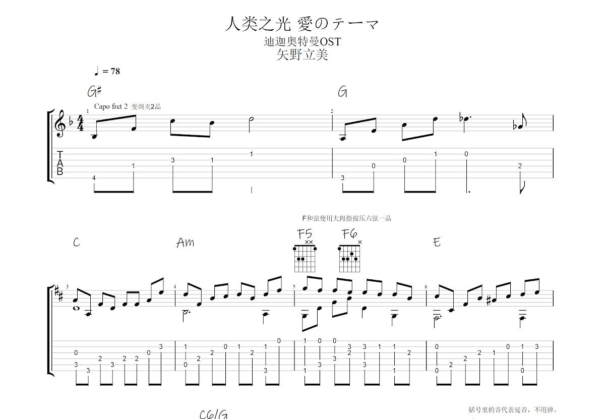 人类之光 愛のテーマ吉他谱_矢野立美 (やの たつみ)_C调指弹