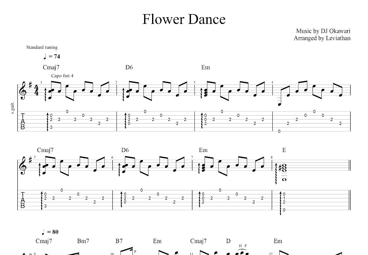 Flower Dance吉他谱_DJ OKAWARI_G调指弹