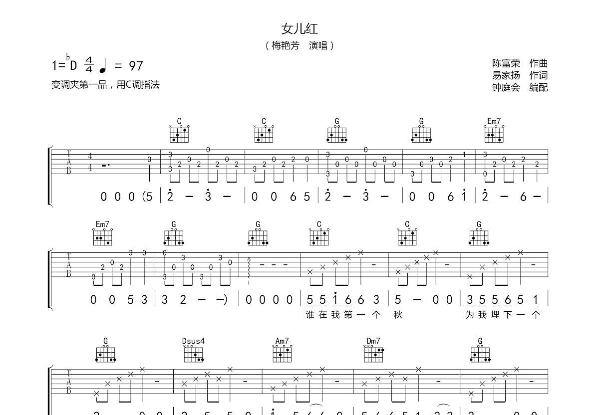 女儿红吉他谱_梅艳芳_C调弹唱