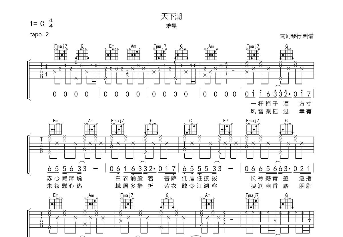 天下潮吉他谱_群星_C调弹唱