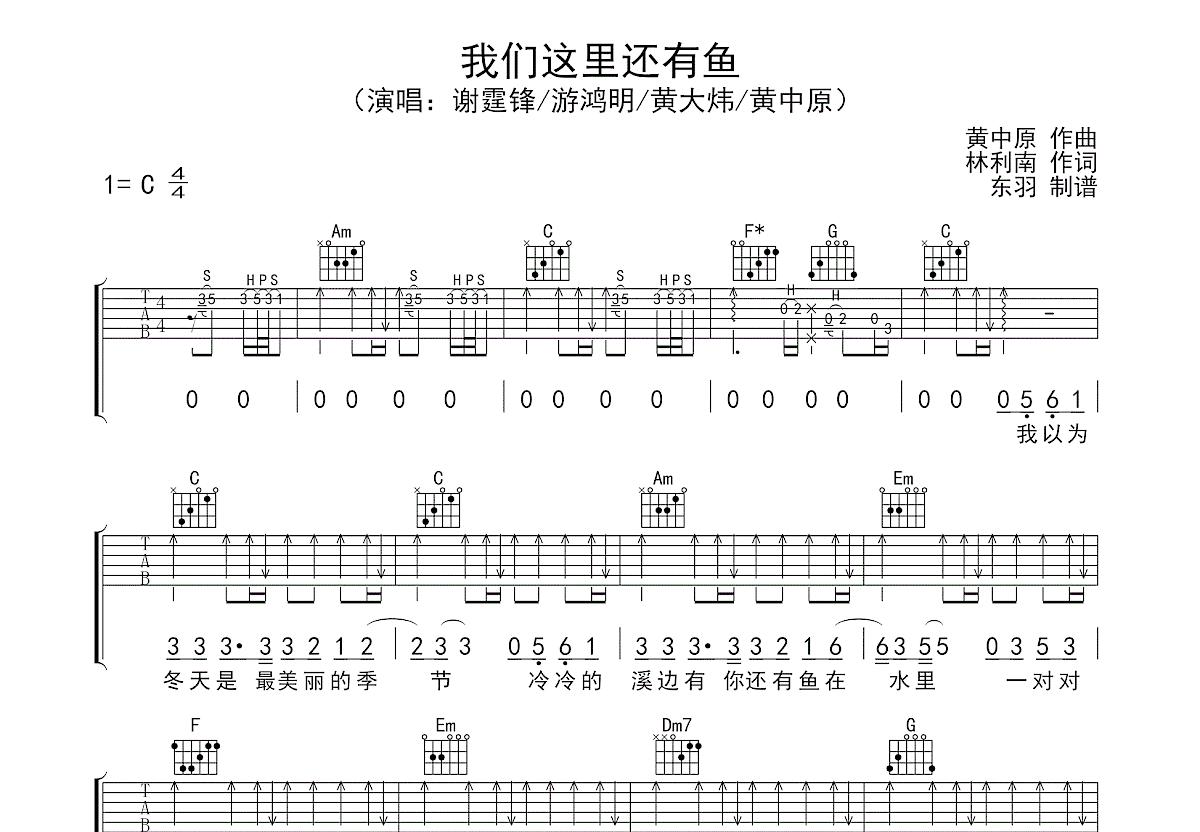 我们这里还有鱼吉他谱_谢霆锋,游鸿明_C调弹唱