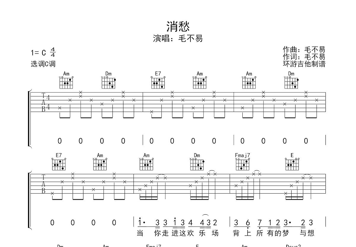 消愁吉他谱_毛不易_C调弹唱