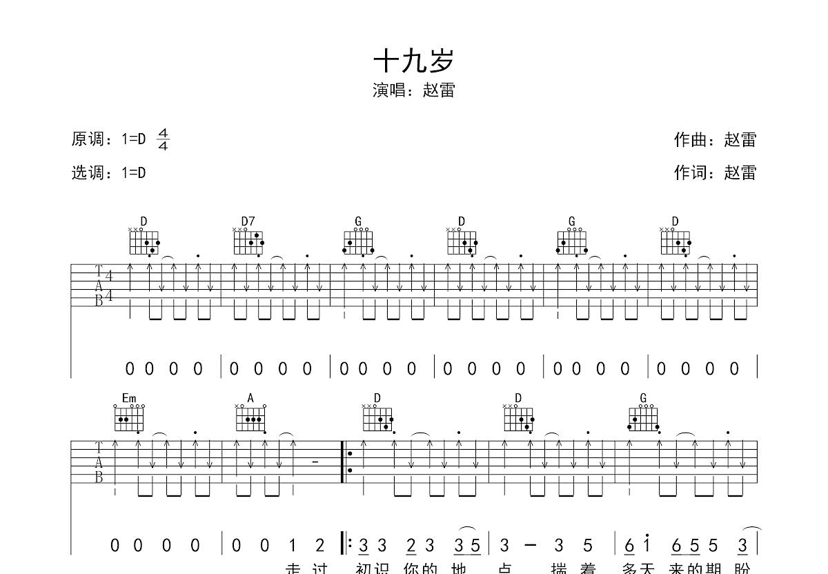 十九岁吉他谱_赵雷_D调弹唱