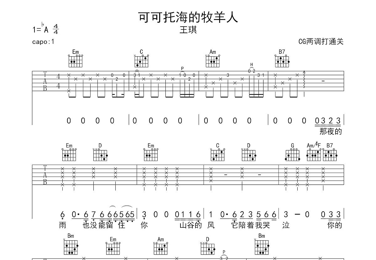 可可托海的牧羊人吉他谱_王琪_G调弹唱