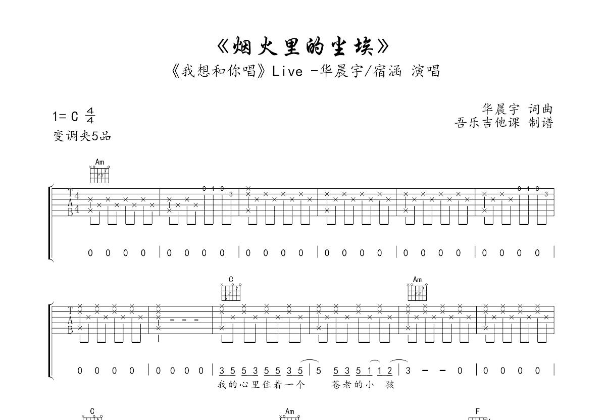 烟火里的尘埃吉他谱_宿涵,华晨宇_C调弹唱