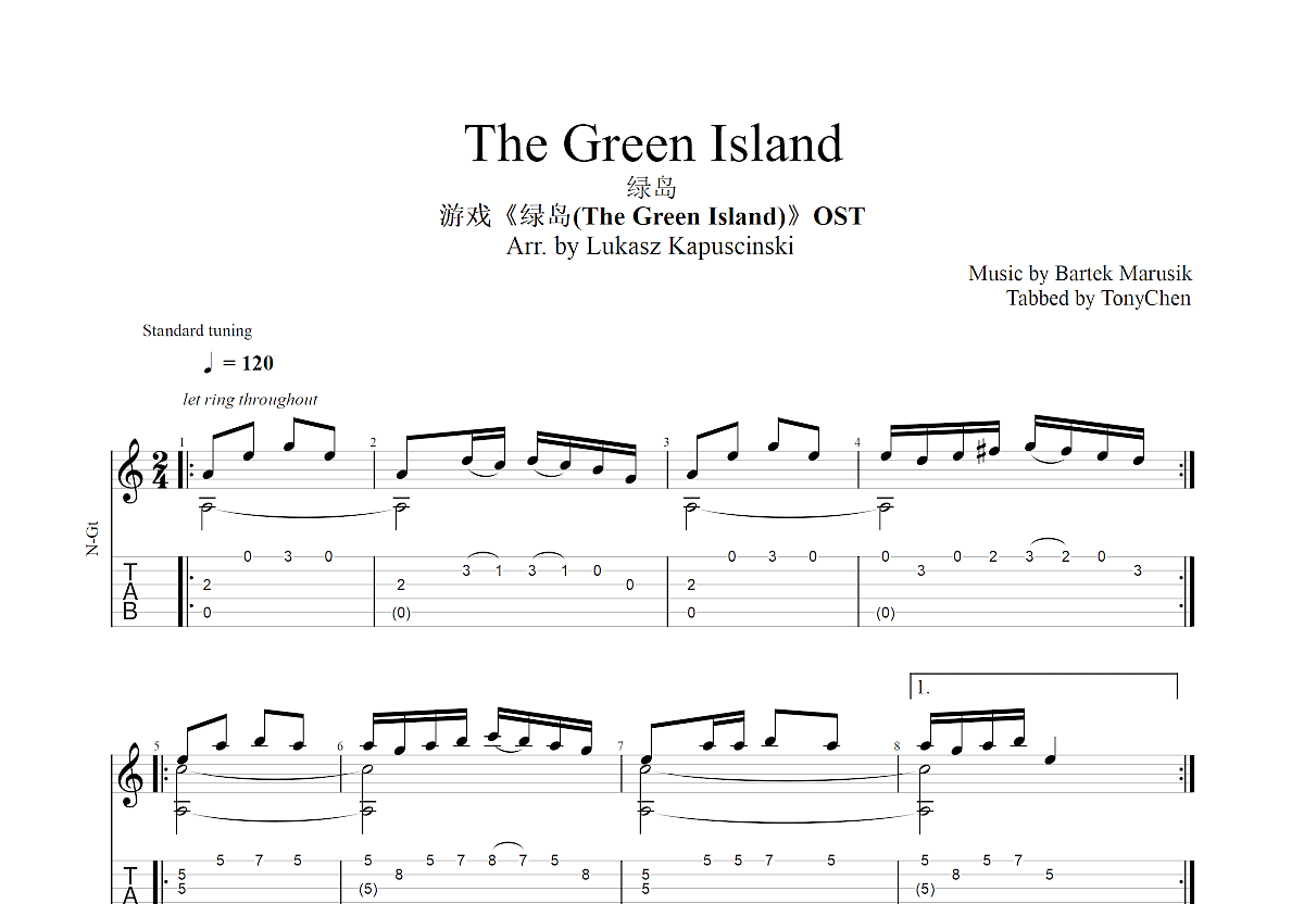 The Green Island吉他谱_Bartek Marusik_C调指弹