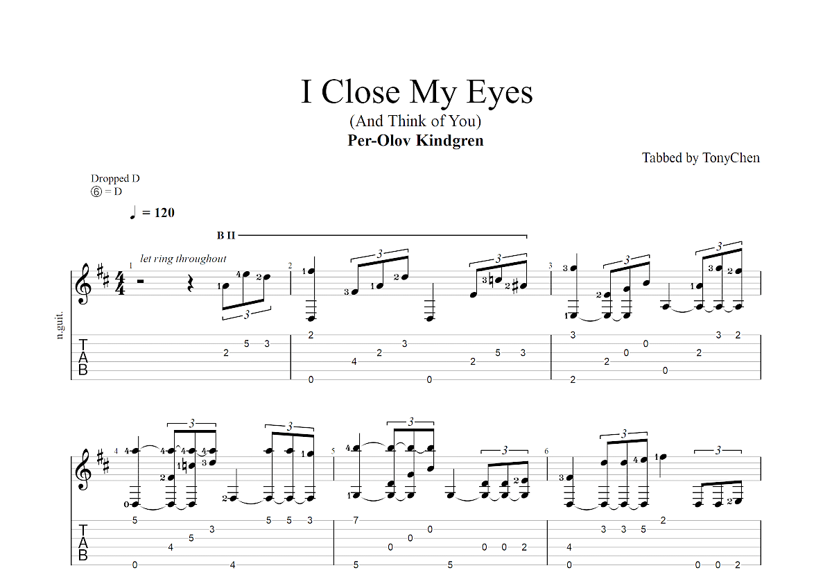 I Close My Eyes (And Think of You)吉他谱_Per-Olov Kindgren_D调古典