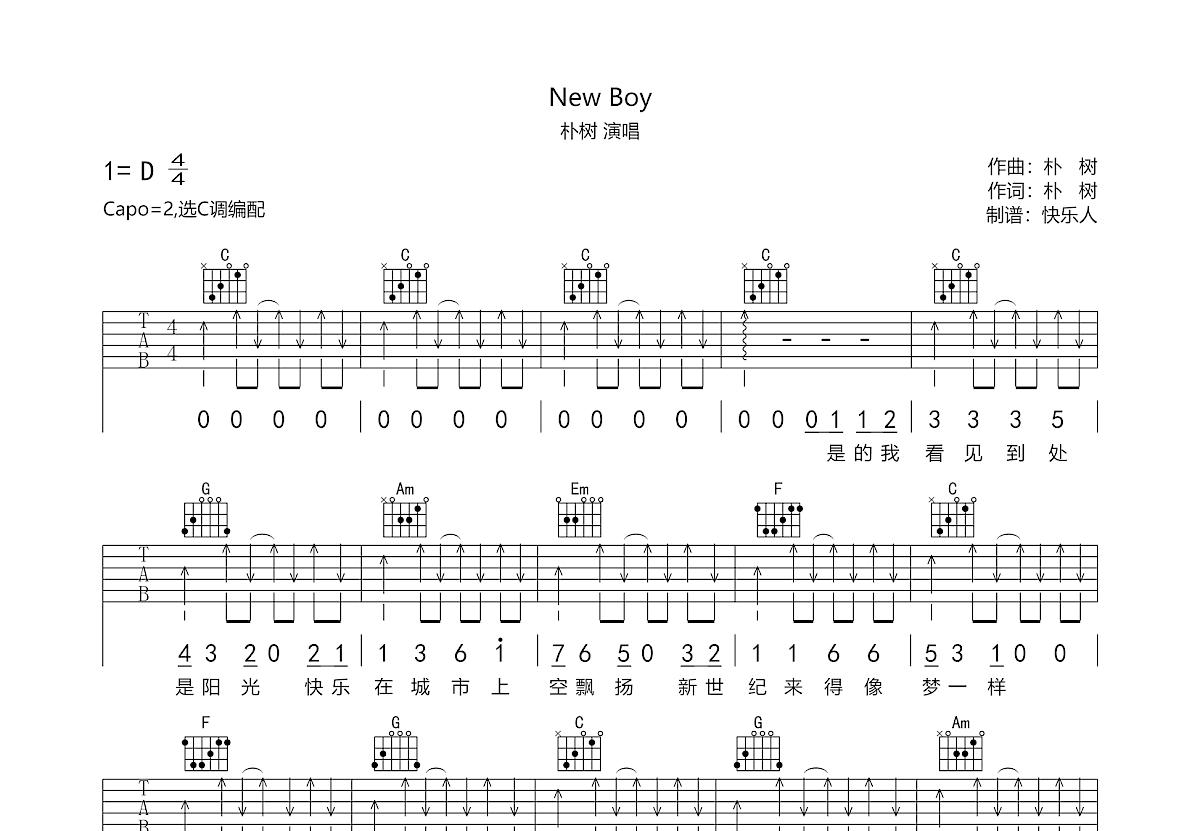new boy吉他谱_朴树_C调弹唱