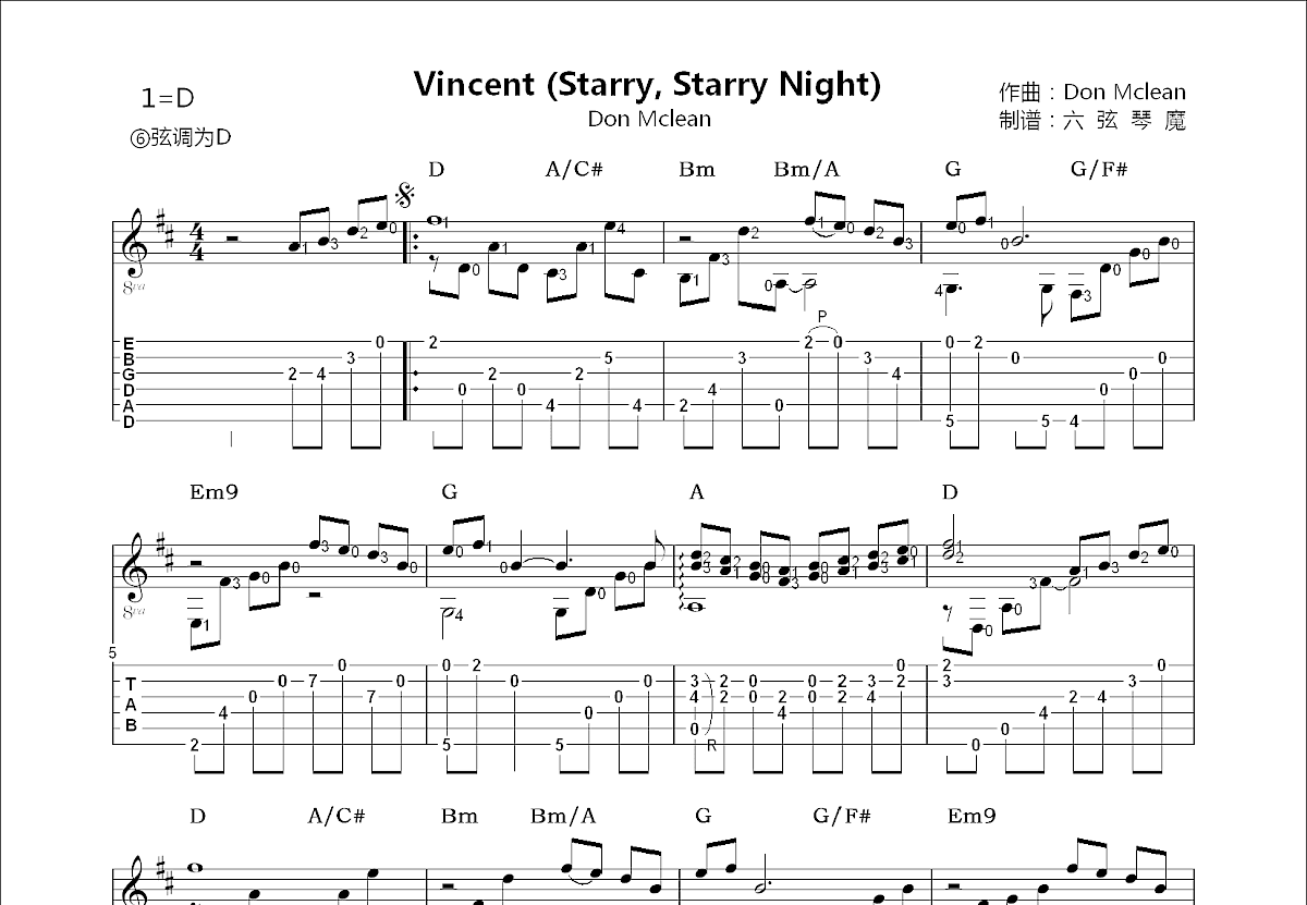 Vincent吉他谱_娄凯文_D调指弹