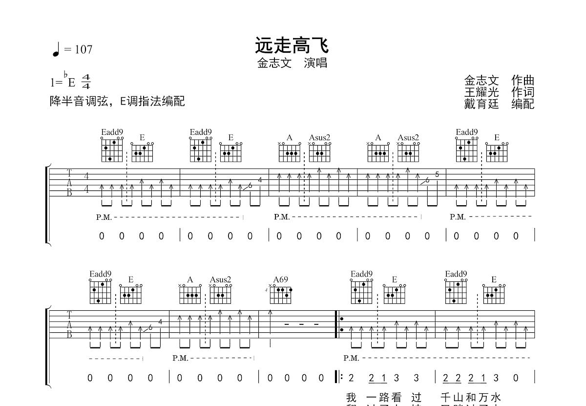 远走高飞吉他谱_金志文_E调弹唱