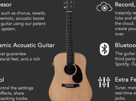 HyVibe发布智能原声吉他:蓝牙连接、App操作,还自带效果器和录音机